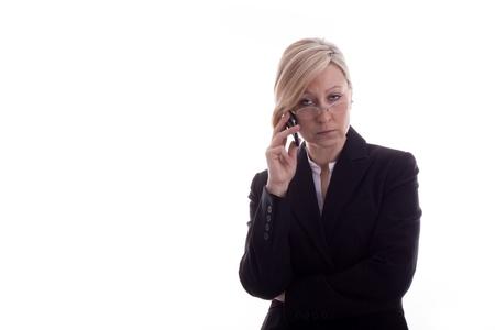 secretary with phone looks resigned photo