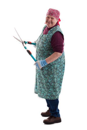 secateurs: old women with a secateurs Stock Photo