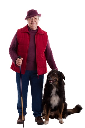 A lusty female senior with dog looks to viewer photo