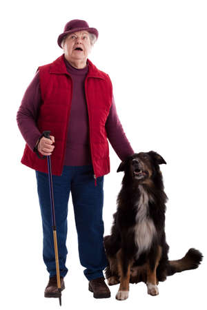 A lusty female senior with dog looks to viewer 2 photo