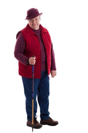 A walking female senior looks to viewer 2 photo
