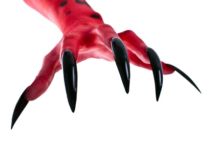 satan: a red devil hand with black nails