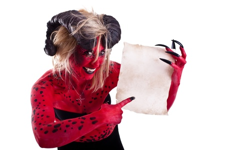 a devil woman with an contract photo