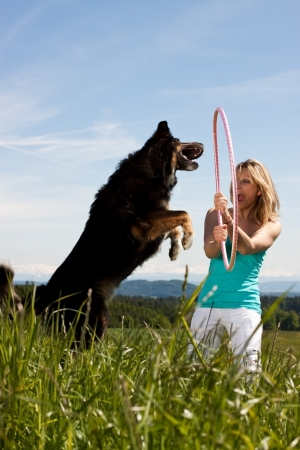 Young woman with  jumping dog on a lawn  In the background, mountains and forests photo