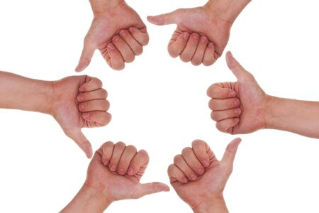 creativ: many hands with thumbs up making a circle Stock Photo