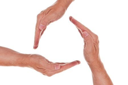 bodypart: a circle of three hands Stock Photo
