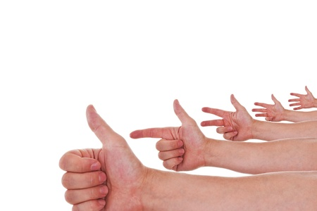 four hands: a lot of hands counting from one to five Stock Photo