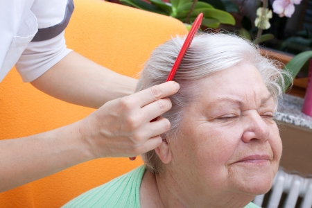 wellbeeing: female nurse combing senior through her hair Stock Photo