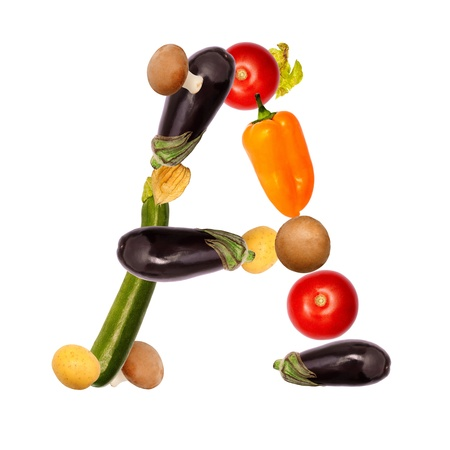 The letter A, builded with various fruits and vegetables, complete font available photo