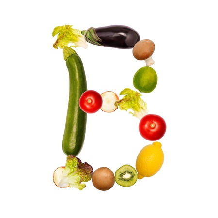 The letter b, builded with various fruits and vegetables, complete font available