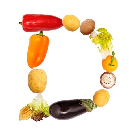 d: The letter d, builded with various fruits and vegetables, complete font available