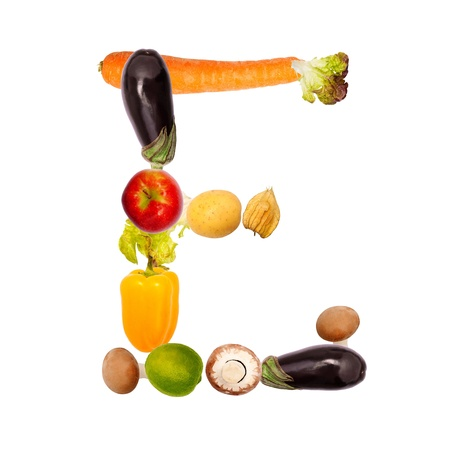 vitamins: The letter e, builded with various fruits and vegetables, complete font available