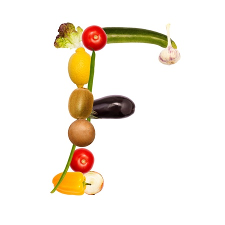 The letter f, builded with various fruits and vegetables, complete font available
