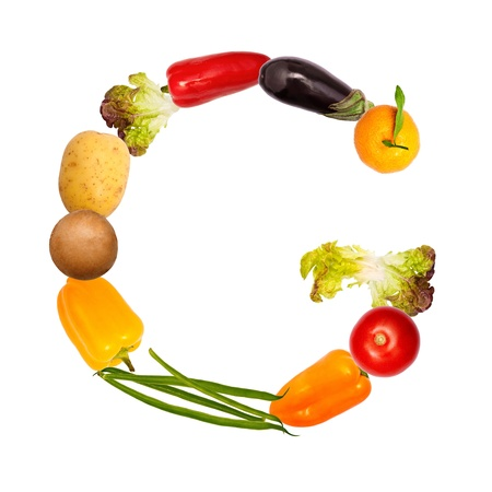 The letter g, builded with various fruits and vegetables, complete font available