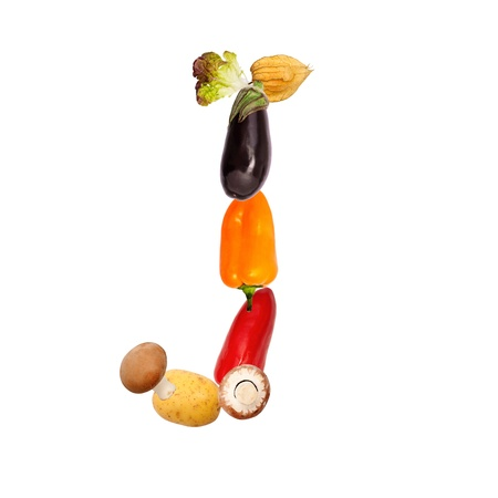 The letter j, builded with vaus fruits and vegetables, complete font available Stock Photo - 16400617