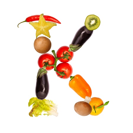 The letter k, builded with various fruits and vegetables, complete font available photo
