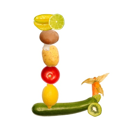 The letter l, builded with various fruits and vegetables, complete font available Stock Photo