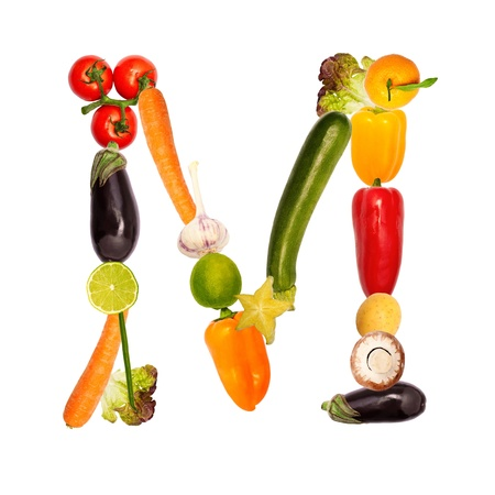 s m: The letter m, builded with various fruits and vegetables, complete font available Stock Photo