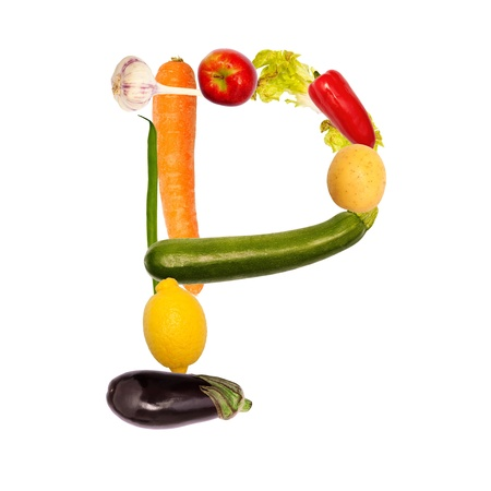 The letter p, builded with various fruits and vegetables, complete font available photo
