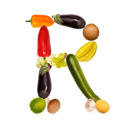 The letter r, builded with various fruits and vegetables, complete font available
