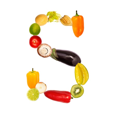 The letter s, builded with various fruits and vegetables, complete font available