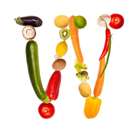 herbalist: The letter w, builded with various fruits and vegetables, complete font available Stock Photo