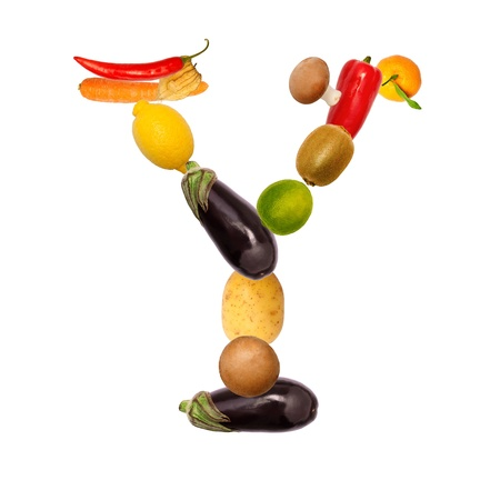 The letter y, builded with various fruits and vegetables, complete font available photo
