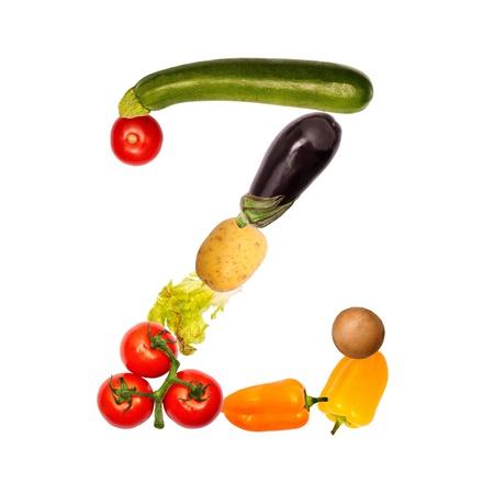 herbolaria: La letra z, construido con varias frutas y verduras, fuente disponible completa