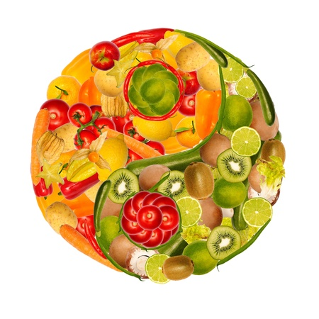 symbol of yin yang with fruits and vegetables