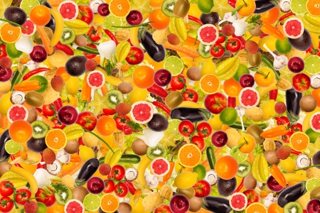 Collage with different types of fruit and vegetables as background, colorful photo