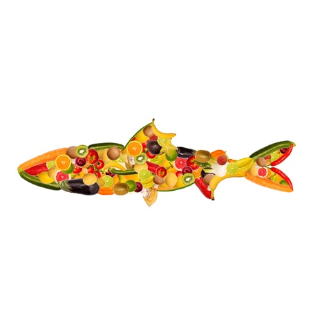 fish shop: collage of a fish, composed of fruit and vegetables