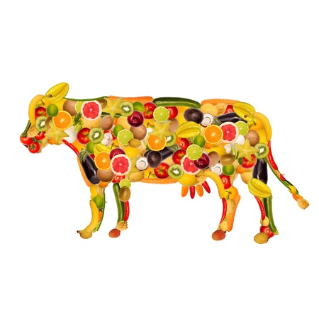 composed: collage of a cow, composed of fruit and vegetables