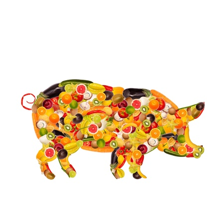collage of a pig, composed of fruit and vegetables Stock Photo - 16555416