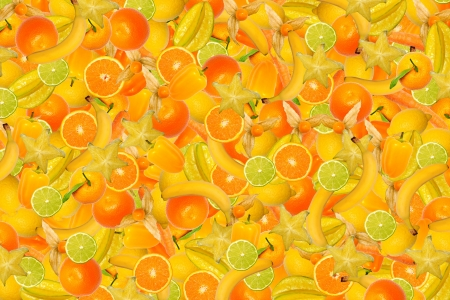 collage of different types of fruit and vegetables as background, yellow Stock Photo - 16555426