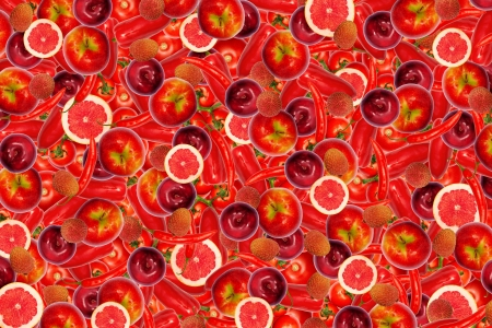 biologically: collage of different types of fruit and vegetables as background, red