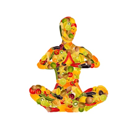 Collage of a meditating woman from fruit and vegetables, white background
