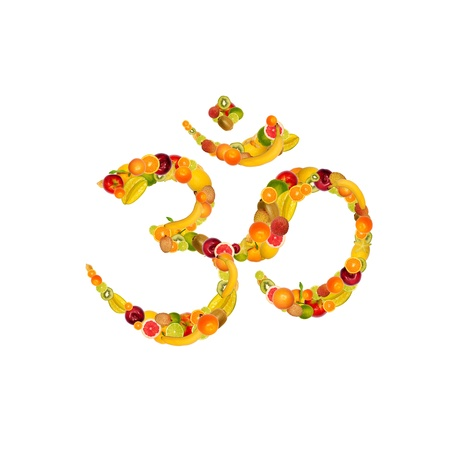 collage of Symbol Aum from fruits and vegetables