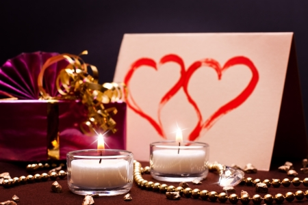 luxurious background: luxurious background with present and white candles