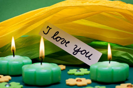 symbolism: romantic green-yellow background with text i love you