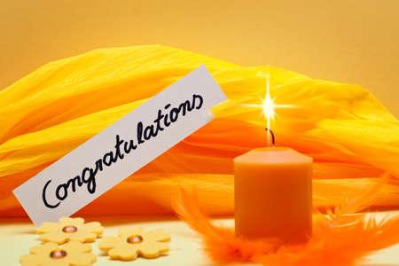 orange background with shield congratulations photo