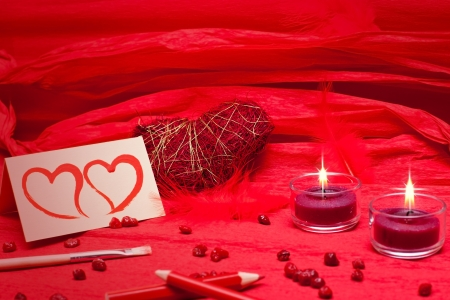 romantic red festive background with hearts photo