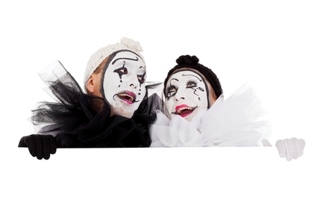 two funny clowns are looking impressed Stock Photo - 18027095