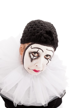 portrait of a sorrowful looking female clown photo