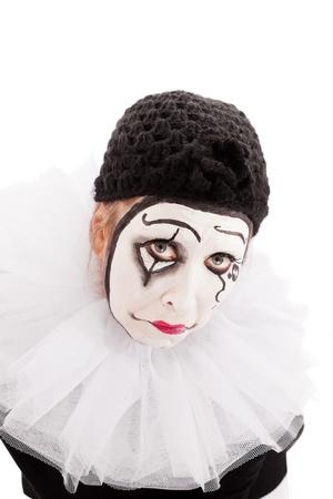 sorrowful: portrait of a sorrowful looking female clown Stock Photo
