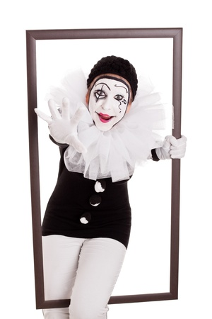 pierrot: female pierrot in a frame is reaching hand to viewer