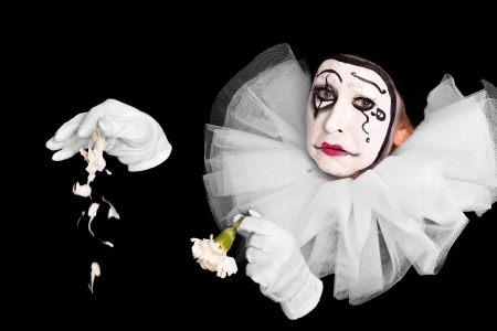 pierrot: female clown is having lovesickness