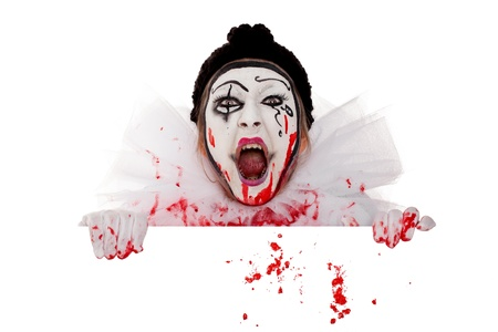 wicked bloody female clown screams over the edge photo