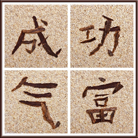Chinese character for success, power, wealth, stony background photo