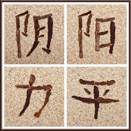 stony: Chinese characters for yin, yang, strength, peace, stony background