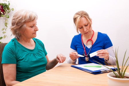 Advising a Senior adult on the dose of medication photo